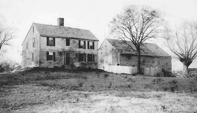 The farmhouse and barn at Mitchell Farm on Mitchell Road