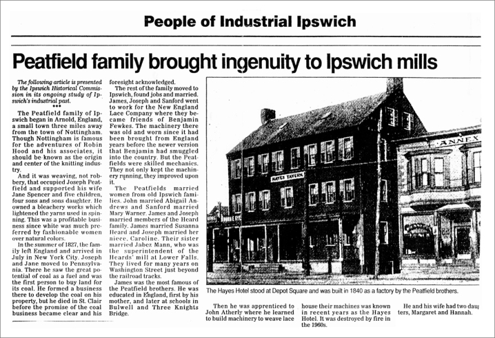 Peatfield brothers article in the Ipswich Chronicle