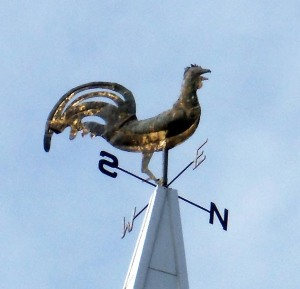 The weathercock atop the steeple of the First Church in Ipswich.