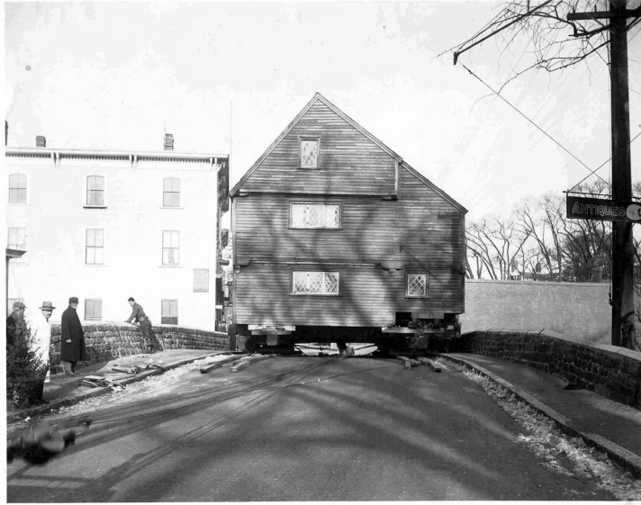 The Whipple House being moved over the Choate Bridge