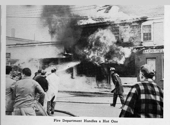 1956 fire at the corner of Market and Union Streets
