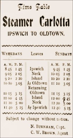 Schedule for the steamship Carlotta in Ipswich