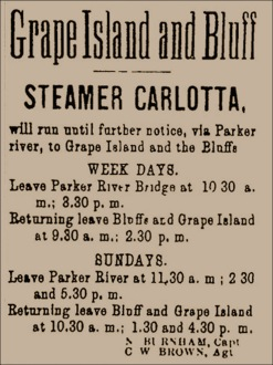 Schedule for the Ipswich steamboat Carlotta
