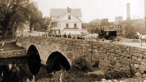 The Choate Bridge in Ipswich MA is the oldest double stone arch bridge in America