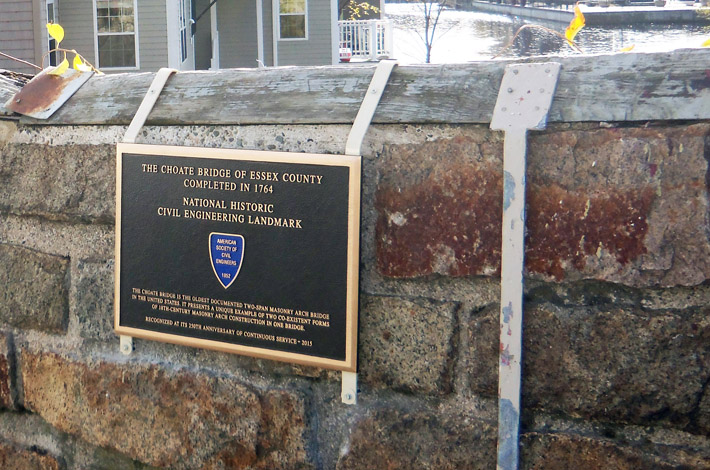 Plaque awarded by the American Society of Civil Engineers to the Choate Bridge.