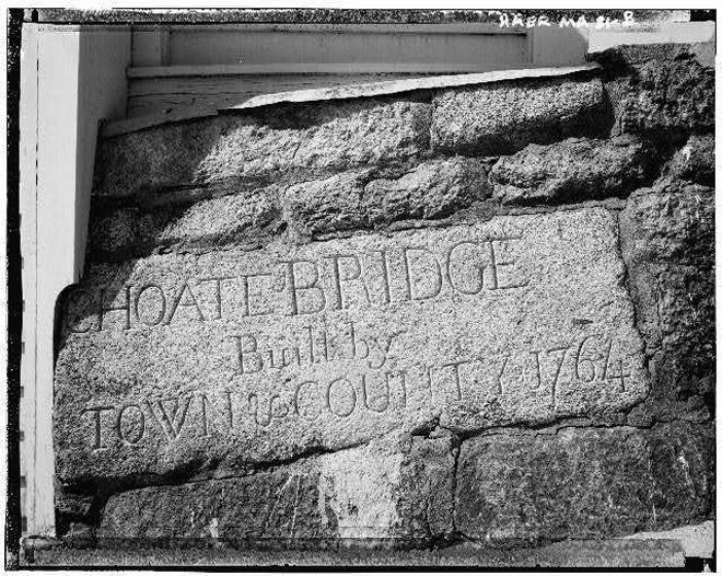 This commemorative stone was added to the parapet when the bridge was widened.