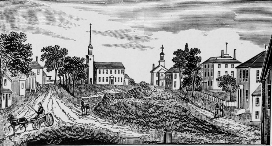 "Engraving of Market Square in Ipswich from John Warner Barber's Historical collections: being a general collection of interesting facts, traditions, biographical sketches, anecdotes, etc. relating to the history and antiquities of every town in Massachusetts,"" published in 1839"