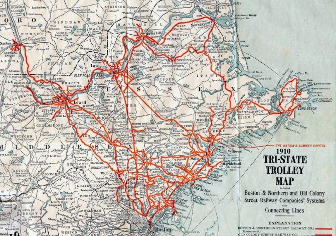 1910 trolley map for the North Shore area
