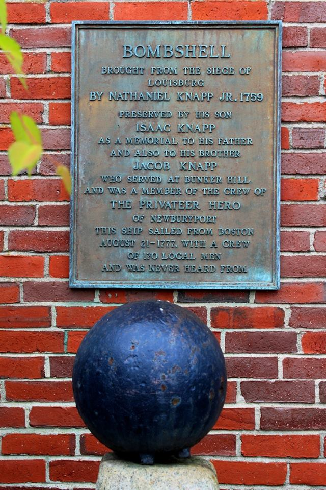 Cannonball bombshell [plaque at the Superior Courthouse in Newburyport