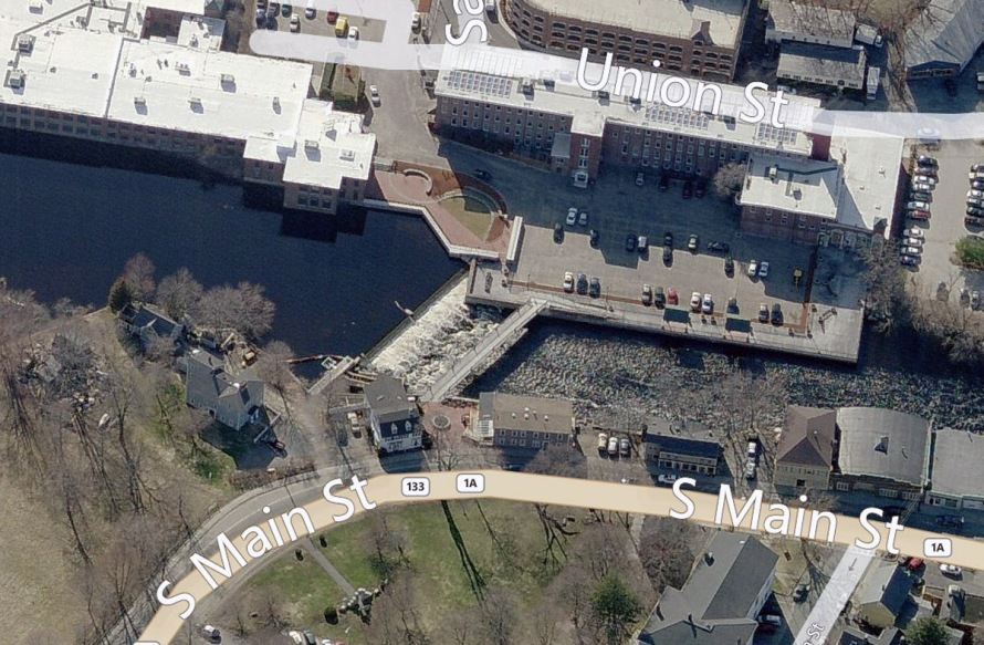 Aerial view of the mills, dam and Riverwalk