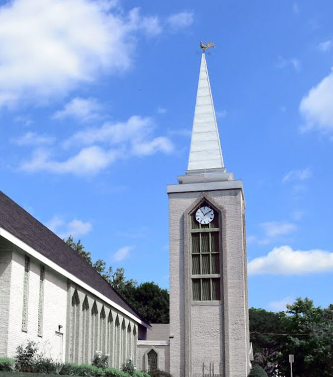 The clock at first church today bears a resemblance to the old town clock.