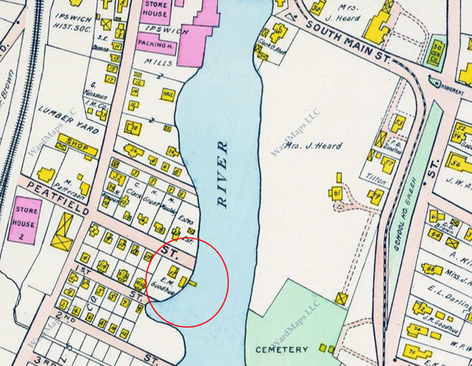 The location of Goodhue's pier is shown on the 1910 Ipswich map.