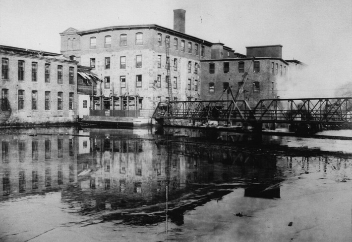 Old footbridge on the Ipswich River at the downtown dam.