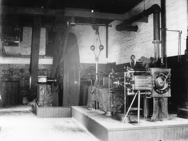 Water-powered machinery in the Ipswich mill.