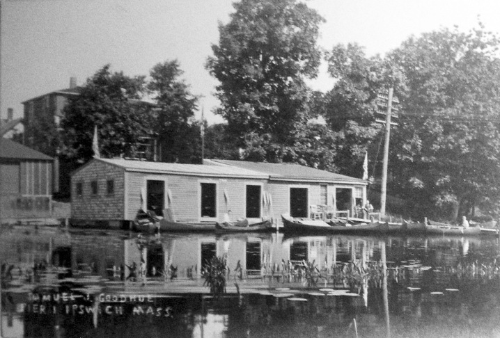 At the turn of the 20th Century, Samuel Goodhue operated a canoe rental business along the Ipswich River at the end of Peatfield St.