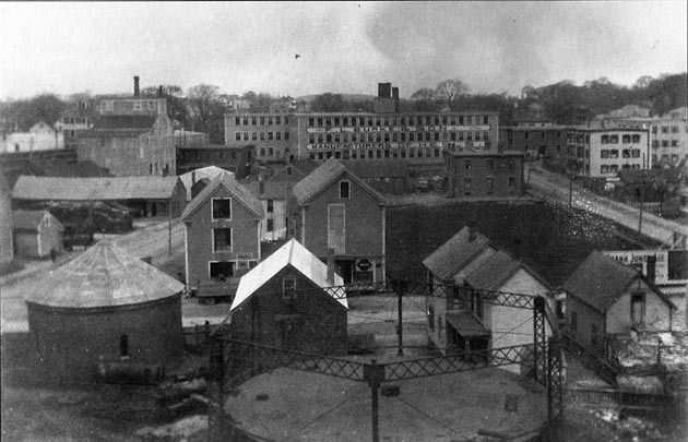 This photo was taken from a rooftop on Market Street. In the foreground is the Brown coal gas company.