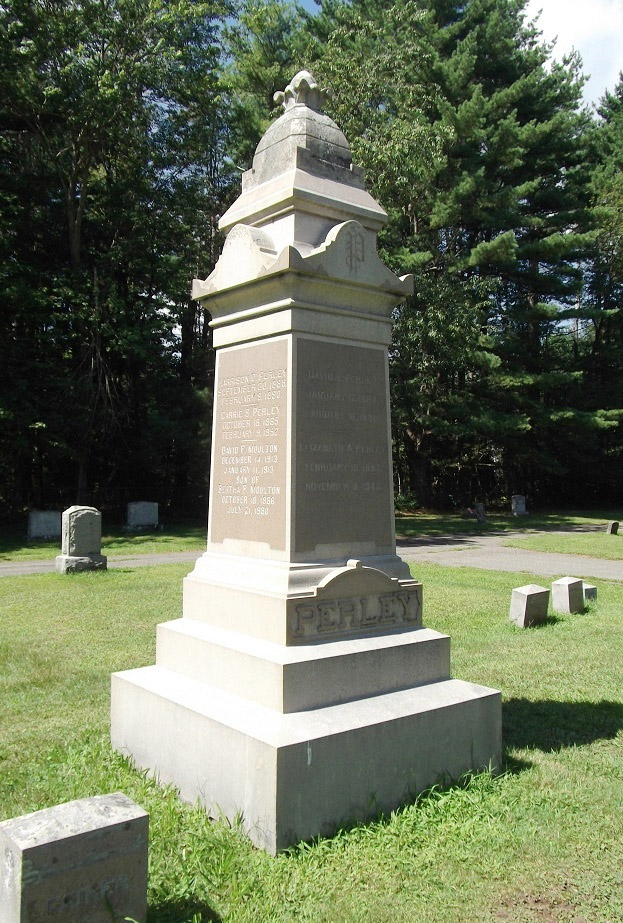 David Tullar Perley and other family members are buried at the New Linebrook Cemetery, not far from their home.