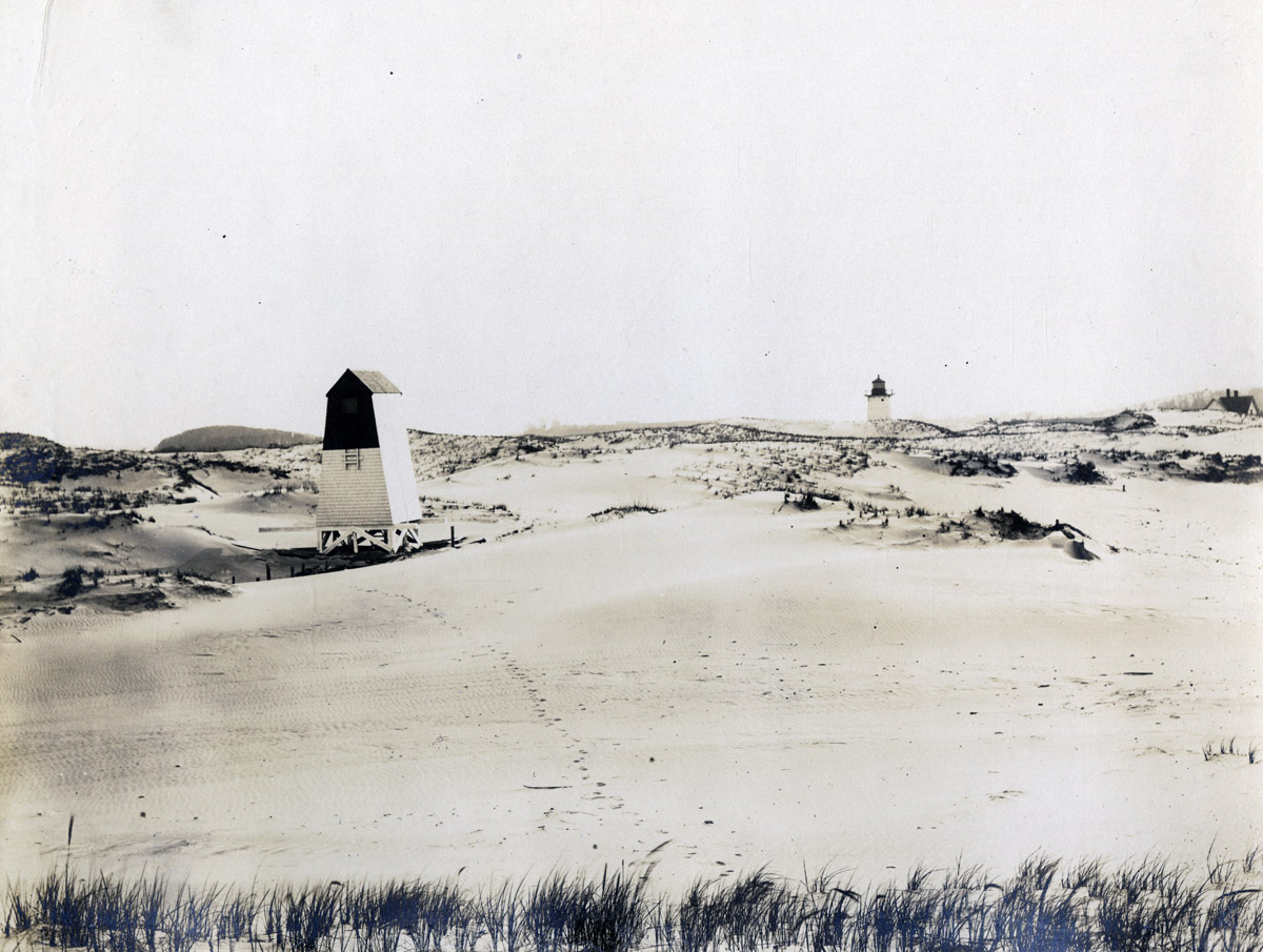 Lighthouse and bug light at Crane Beach in Ipswich