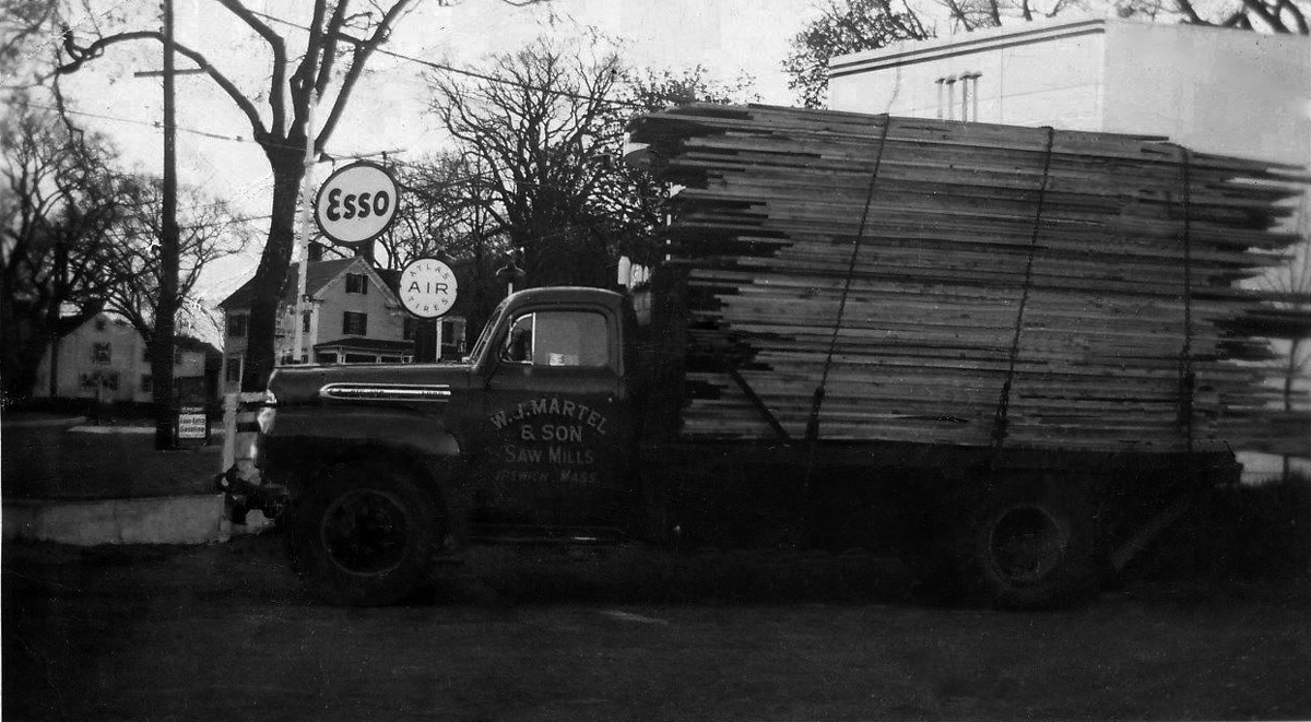 Martel & Sons Lumber truck at Lords Square in Ipswich MA