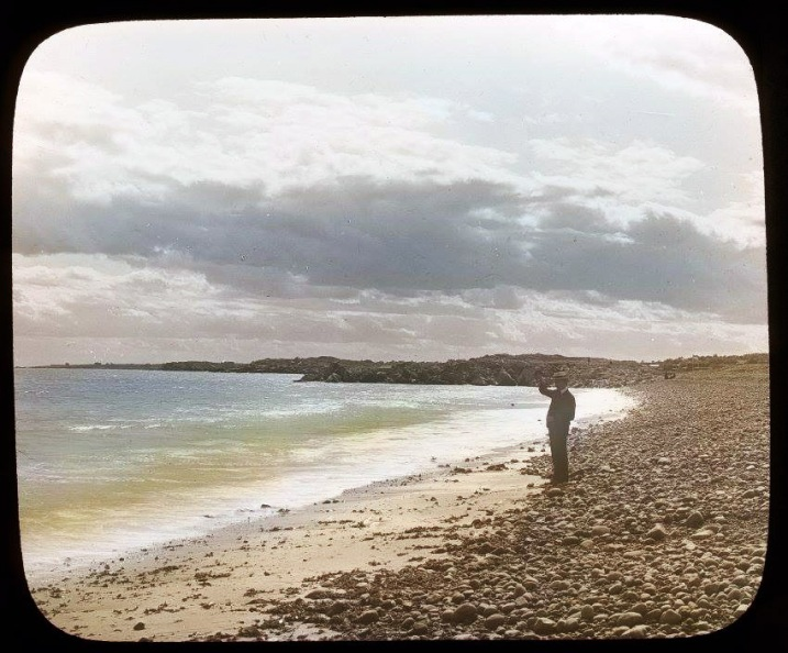 This photo provided by the Ipswich Museum appears to be Pavilion Beach with Little Neck behind it.