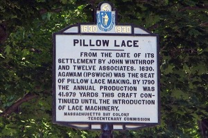 The Pillow Lace Tercentenary plaque on High Street in Ipswich
