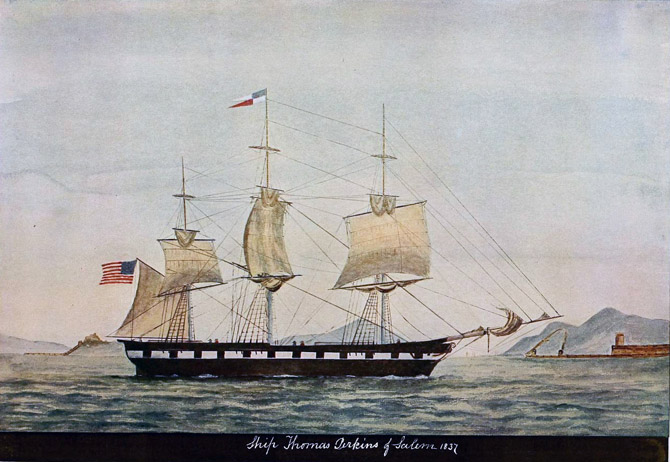 The ship Thomas Perkins of Salem was built at Portsmouth N 11 in 1837 for David Pingree and Emery Johnson. She was named by Mr Pingree for his uncle Thomas Perkins who was born in Topsfield April 2 1758 and died there November 24 1830 Beginning life as a shoemaker Mr Perkins came to Salem at the age of twenty two and shipped on board a privateer in company with Joseph Peabody who afterwards became his business partner They were also together on the letter ofmarque brig Ranger Captain Simmons when she was attacked in the Potomac river in 1782 by three British tory barges which were brilliantly repulsed He became captain of the privateers Spitfire and Thrasher and in the latter captured six prizes in a single cruise He was frequently referred to as Captain Perkins and became an eminent merchant his enterprise aiding very materially in building up the reputation of the City of Salem.