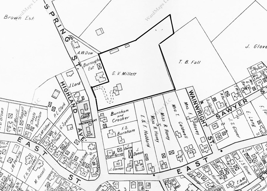 The George V. Millett house and 5 acre estate are indicated on this section of the 1896 Ipswich map