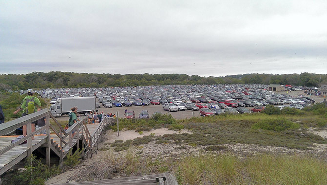 The parking lot at Crane Beach filled up quickly.