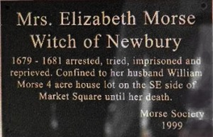 Plaque commemorating Elizabeth Morse in Newburyport