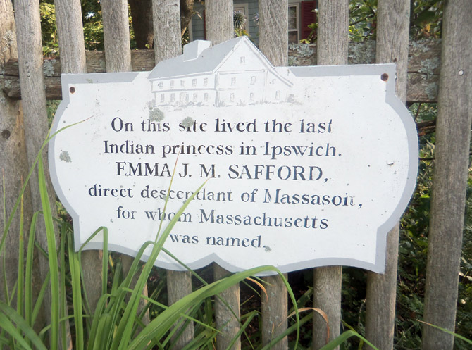 This sign, was provided by the Ipswich Historical Commission at the Green Street location of Emma Jane Safford's home.