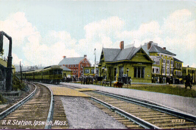 The Hayes Hotel is the red building in this postcard of the Ipswich Depot around the beginning of the 20th Century.