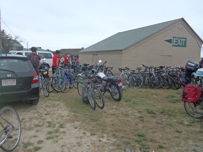 We were able to make good time on the bicycles, and the gatekeepers at Crane Beach waved us in, no charge. .Beach staff had moved the bicycle racks against the shed, gaining two more automobile parking spots but making it impossible to park many bicycles.