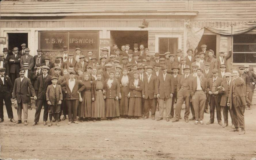 Many of the Polish and Greek immigrants who arrived in Ipswich to work in the mills are buried at the Highland Annex Cemetery. This photo is from the 1913 Ipswich Mills Strike