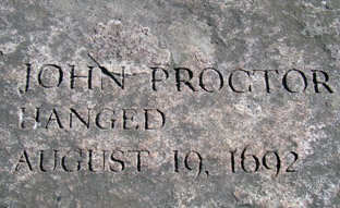 John Proctor's memorial stone at the Salem witchcraft memorial