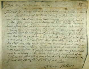Testimony of Ipswich minister William Hubbard for the accused, Sarah Buckley
