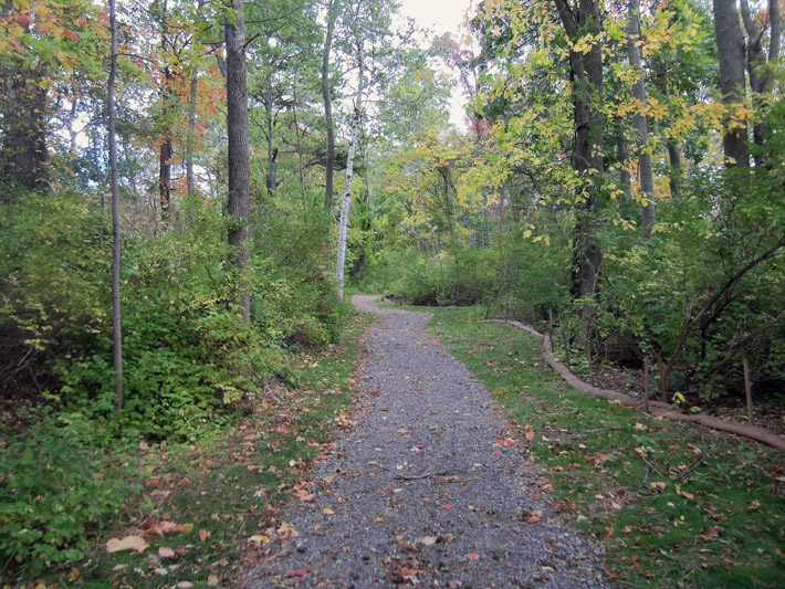 Trail parking is on the left after entering the gate. from County Rd. A handicapped accessible trail with two parking spots is at the trailhead near the soccer field.