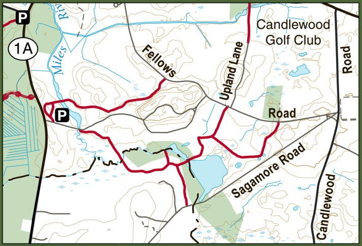 Public trails at New England Biolabs,. Map courtesy of the Essex County Trail Association.