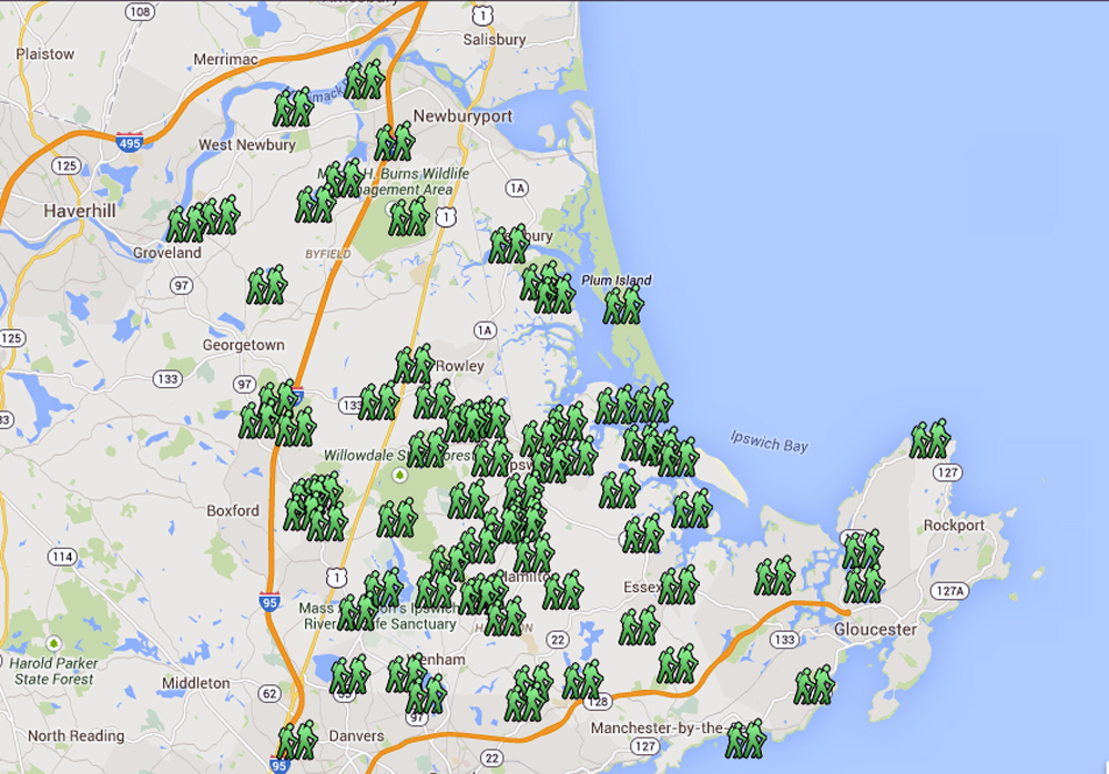 map of hiking trails on the North Shore of Massachusetts