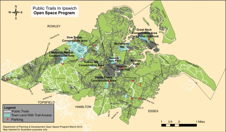 Ipswich MA Open Space Program properties and trails map