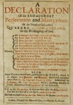 Declaration of persecution of Quakers by Puritans
