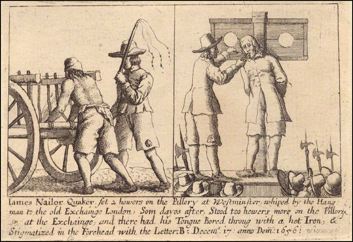 James Nailer, Quaker, persecuted by Puritans.