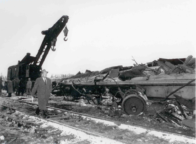 The train that Charlotte was riding in on that snowy morning was demolished.