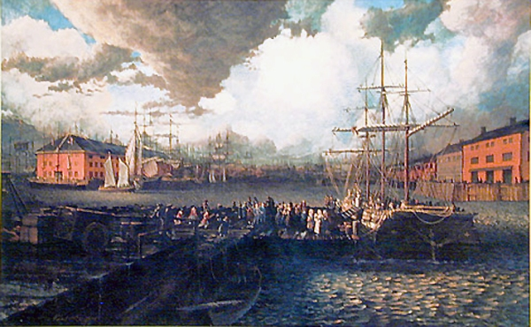 Acadians disembarking at Boston Harbor. Painting by Robert Dafford.