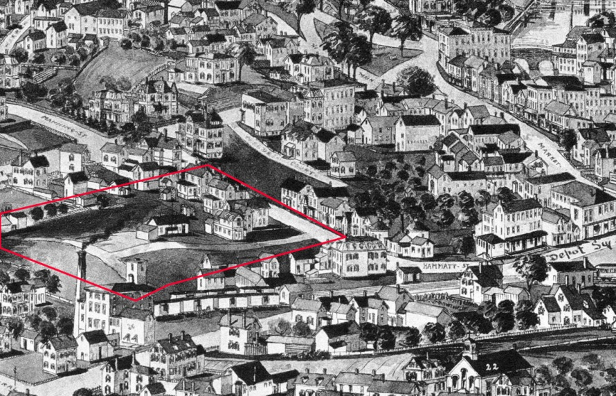 In this view from the 1893 Ipswich Birdseye map, the Brown Square area is still undeveloped