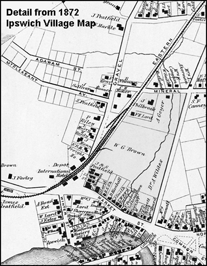 Farley Brook can be seen running through the area, which has not yet been developed in this 1872 map of Ipswich.