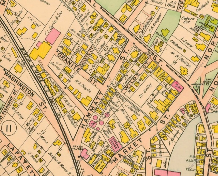 Hammatt Street, Wildes Court and Brown Square in the 1910 Ipswich MA map