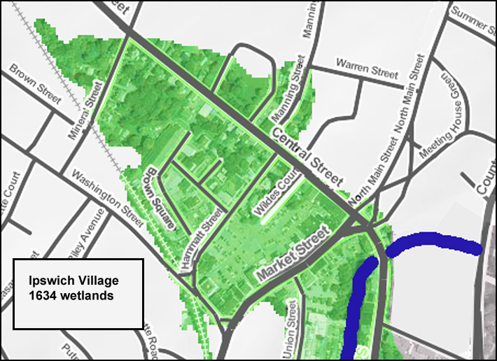 The wetlands as described in the early journals are shown on the map. Farley brook was dug, and the land was raised and filled, enough that it became buildable by the mid-19th Century. This map was created with an interactive map that shows the effect of predicted sea level rise.