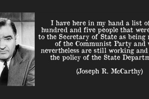 "Joseph Mccarthy: ""I have here in my hand a list of two hundred and five people that were known to the Secretary of State as being members of the Communist Party."""