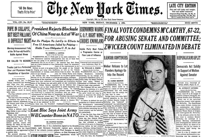 New York Times McCarthy is condemned for abusing senate and committee