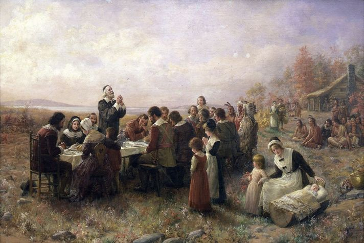 """An image from Jennie A. Brownscombe's 1914 painting, """"The First Thanksgiving At Plymouth"""